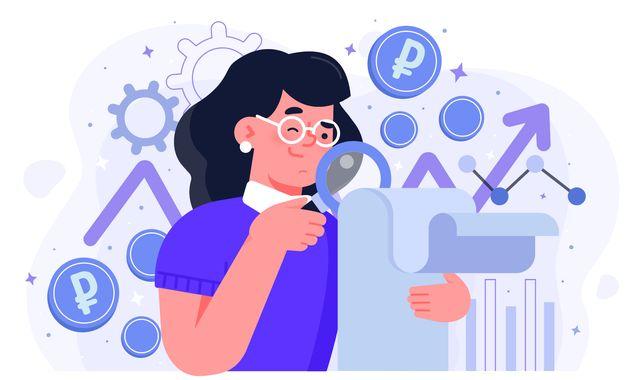 Нарисованная дама изучает документ в поиске источников дохода