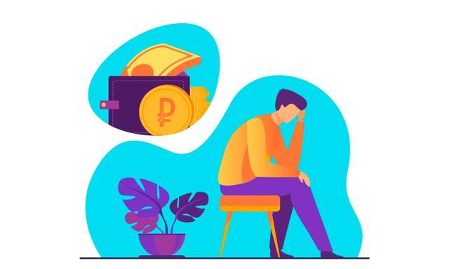 Нарисованный человек сидит на табурете и страдает от финансового давления