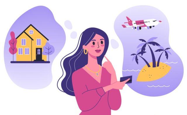 Нарисованная женщина мечтает о финансовой независимости