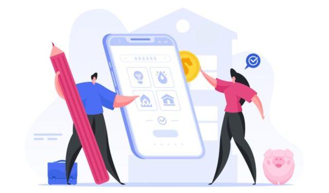 Семья оплачивает коммунальные услуги через онлайн-приложение на смартфоне