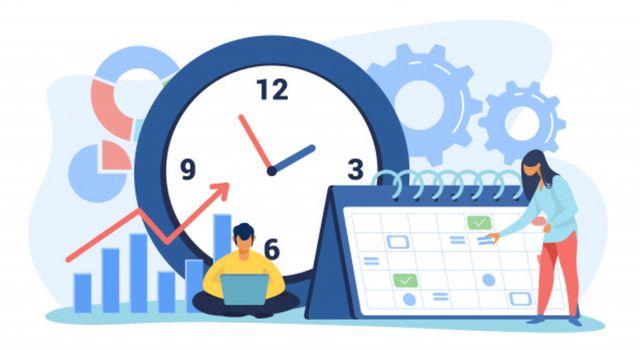 Иллюстрированные люди планируют рабочее время