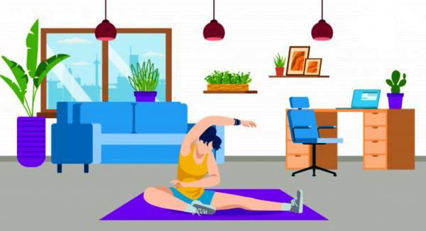 Нарисованная девушка занимается йогой в домашней обстановке