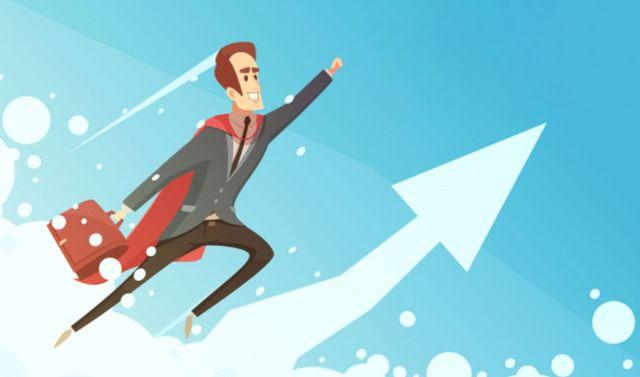 Успех в бизнесе – символический мультипликационный плакат с улыбающимся бизнесменом