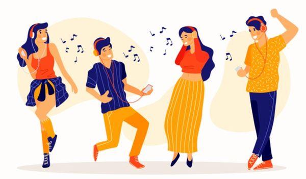 Несколько людей весело танцуют под музыку в наушниках
