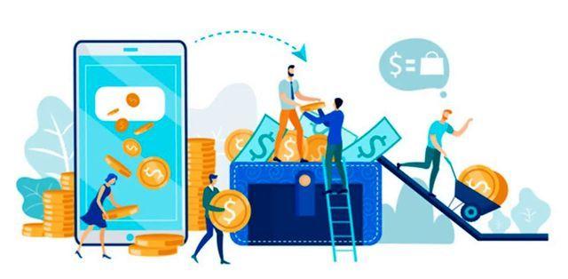 Иллюстрация использования мобильного банкинга для управления деньгами
