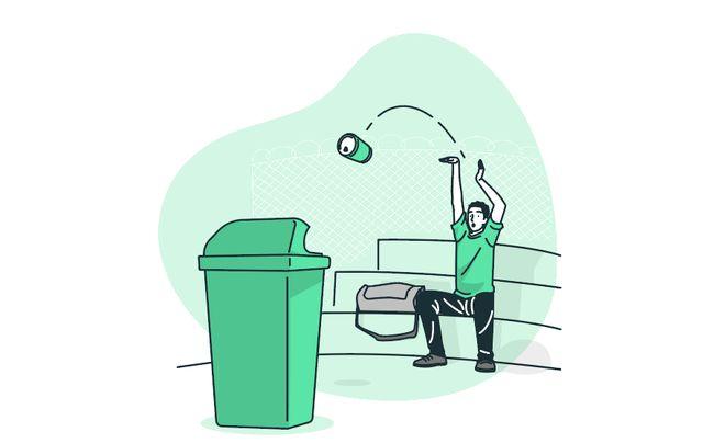 Удачный бросок алюминиевой банки в мусорный контейнер