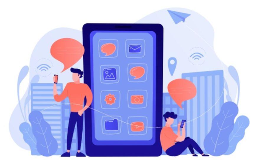 Нарисованные мужчины возле огромного планшета просматривают уведомления социальных сетей