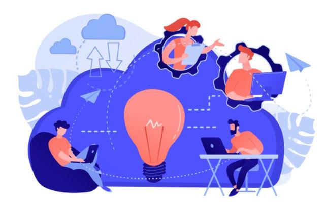 Иллюстрированный концепт на тему командной работы в Интернете