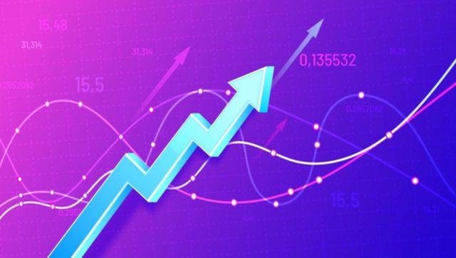 Растущий финансовый график в трёхмерном формате