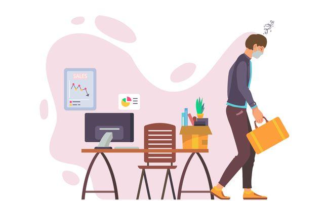 Нарисованный человек с портфелем покидает офис после увольнения