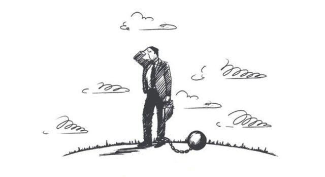 Рисунок на тему обременения человека грузом долгов